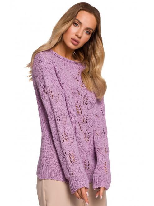 MOE  M600 Sweter Z Ażurowym Wzorem Лиловый оптом