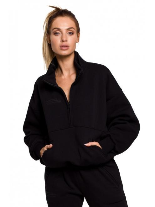 MOE  M616 блуза с замком и капюшоном czarna оптом