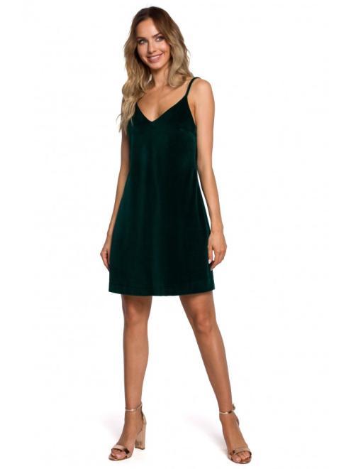 MOE  M560 Welurowa Sukienka Mini Na Ramiączkach Зеленый оптом