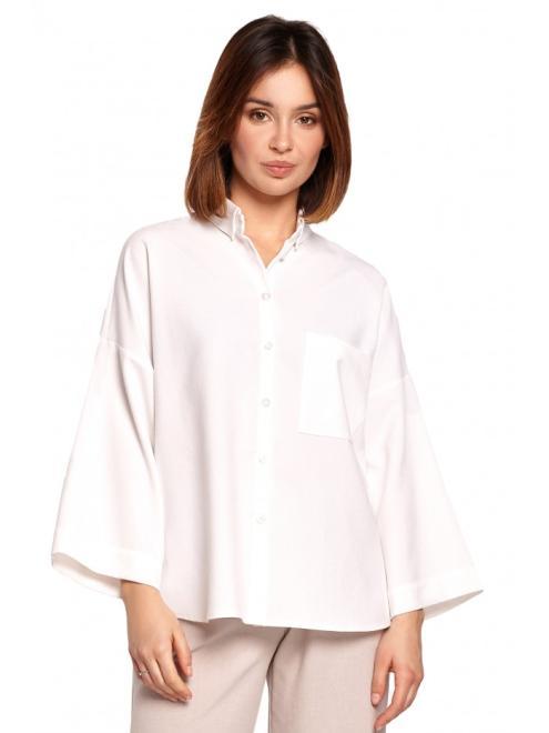 BE  B191 Koszula Oversize Белый оптом