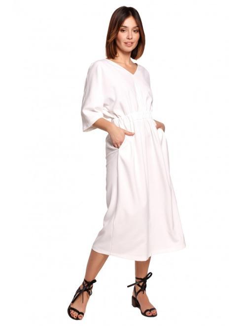 BE  B192 Sukienka Midi Z Gumą W Pasie Белый оптом