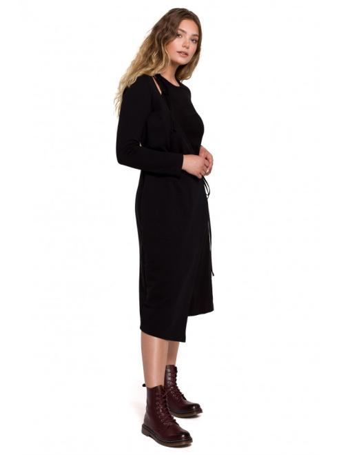 BE  B206 платье с вязанием czarna оптом