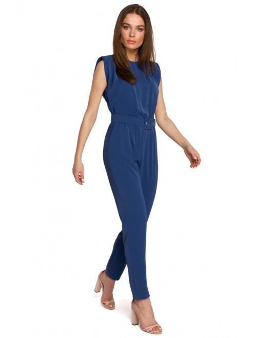Style  S259 Kombinezon z poduszkami na ramionach Голубой оптом