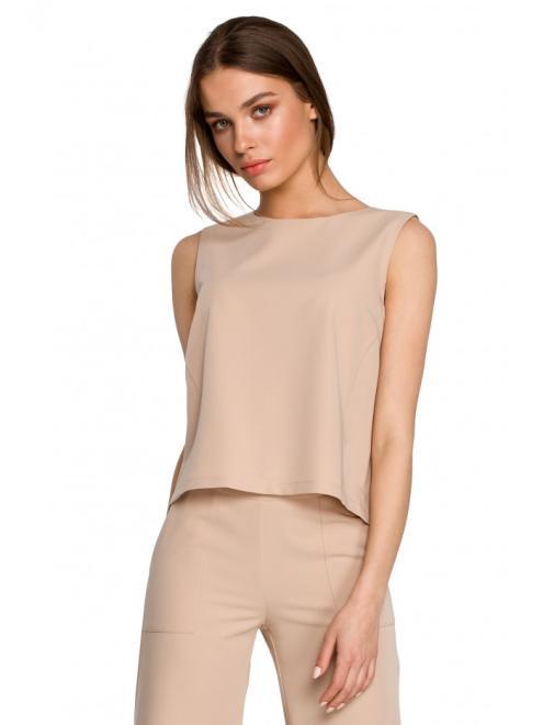 Style  S260 Bluzka bez rękawów z poduszkami na ramionach Бежевый оптом