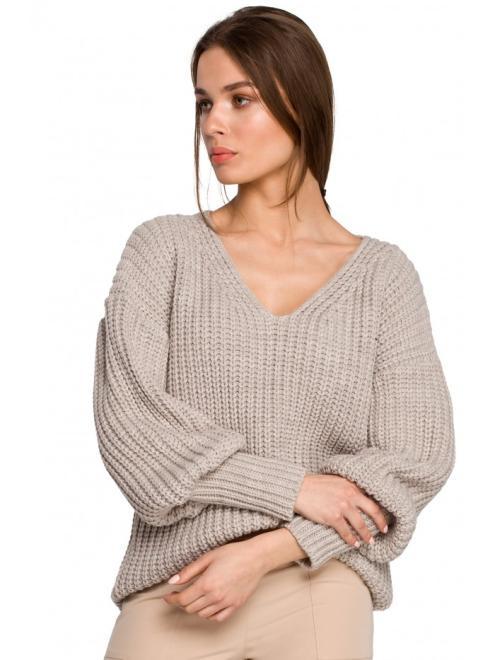 Style  S268 Sweter w serek ze ściągaczem przy rękawach Бежевый оптом