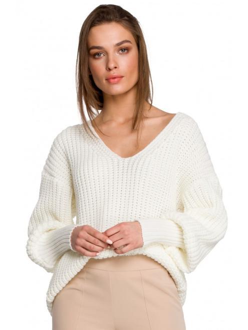 Style  S268 Sweter w serek ze ściągaczem przy rękawach Экри оптом