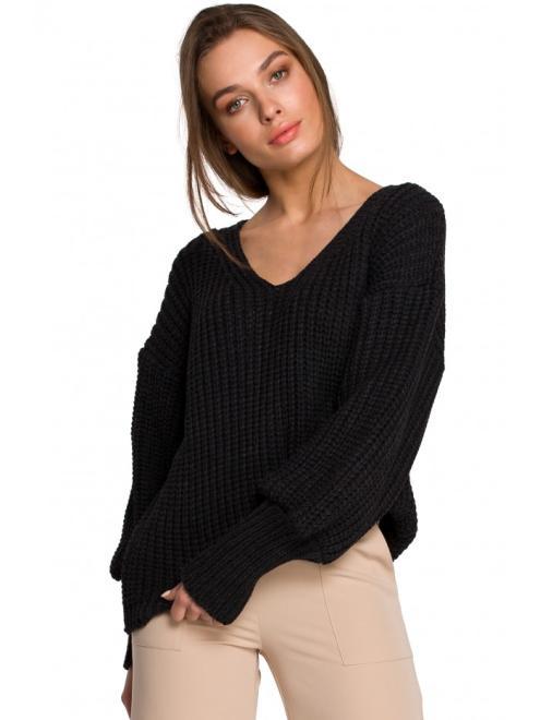 Style  S268 Sweter w serek ze ściągaczem przy rękawach Графит оптом