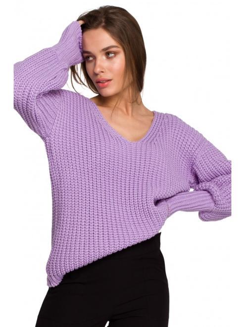Style  S268 Sweter w serek ze ściągaczem przy rękawach Lawendowy  оптом