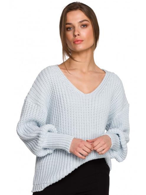 Style  S268 Sweter w serek ze ściągaczem przy rękawach Голубой оптом