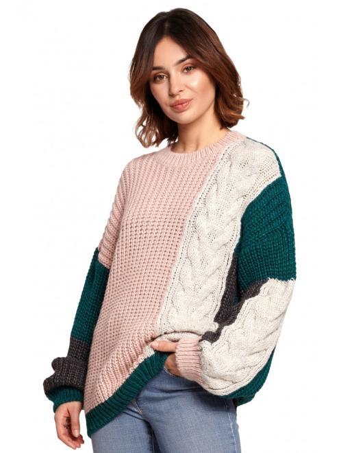 BE Knit  BK066 Sweter wielokolorowy model 4 оптом