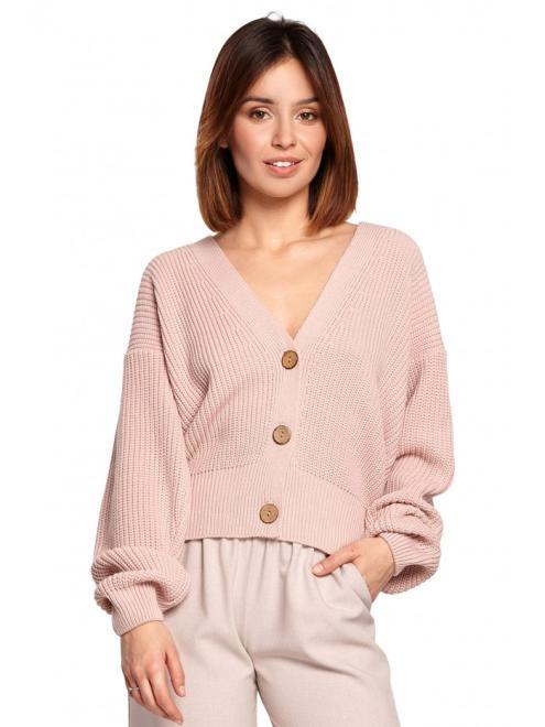 BE Knit  BK067 Krótki kardigan zapinany na guziki Розовый оптом