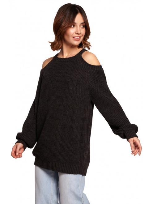 BE Knit  BK069 Sweter z wycięciami na ramionach Графит оптом