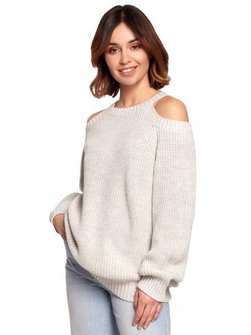 BE Knit  BK069 Sweter z wycięciami na ramionach пепельный оптом