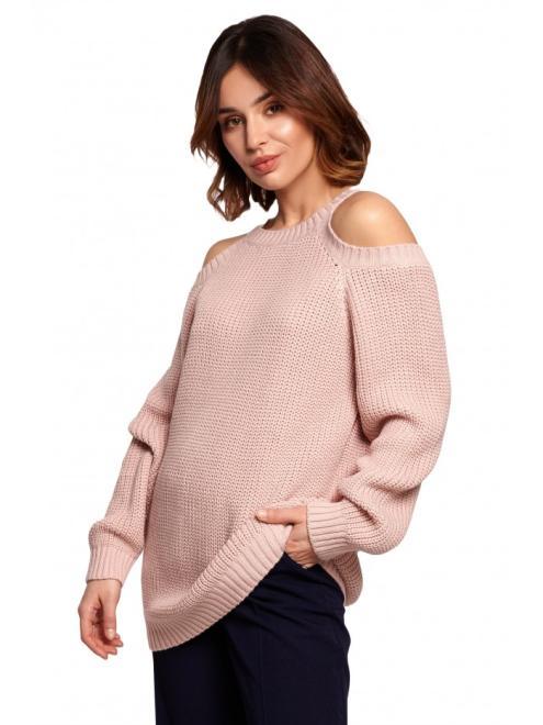 BE Knit  BK069 Sweter z wycięciami na ramionach Розовый оптом