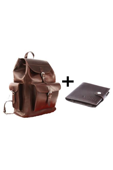 Verosoft  Duży plecak skórzany Vintage P40 + Portfel z naturalnej skóry juchtowej Vintage P21 Brown - Verosoft 152088 Комплект Коричневый оптом