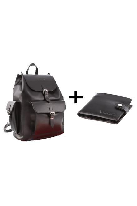 Verosoft  Duży plecak skórzany Vintage P40 + Portfel z naturalnej skóry juchtowej Vintage P21 Black - Verosoft 152089 Комплект Черный оптом