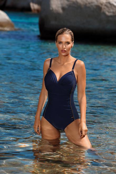 Barontex  Jednoczęściowy strój kąpielowy Kostium Kąpielowy Model S1026ZL Col.17  - Barontex 156150 Слитный купальник Темносиний оптом