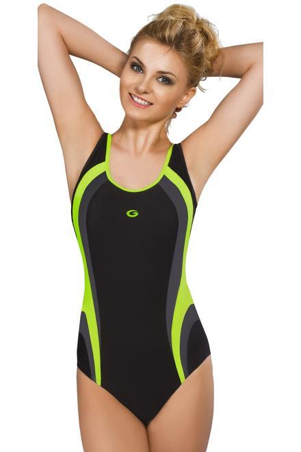 GWINNER  Jednoczęściowy strój kąpielowy Kostium jednoczęściowy Model Power II Black/Grafit/Green - GWINNER 112934 Слитный купальник Черный оптом