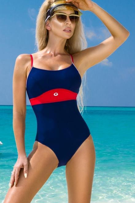 GWINNER  Jednoczęściowy strój kąpielowy Kostium Kąpielowy Model Roxi Navy/Red - GWINNER 132793 Слитный купальник Темносиний оптом