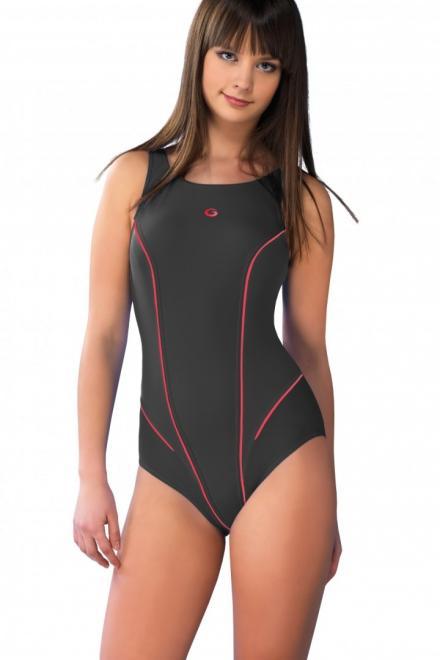GWINNER  Jednoczęściowy strój kąpielowy Kostium Kąpielowy Model Kayla Grafit/Pink - GWINNER 132795 Слитный купальник Серый оптом