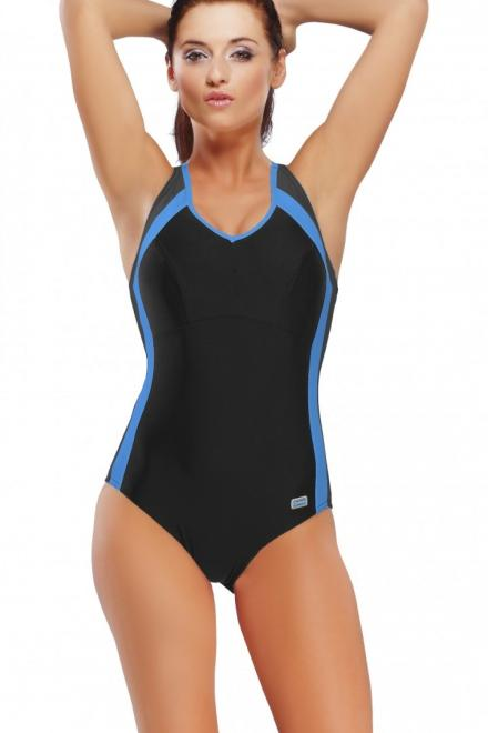 GWINNER  Jednoczęściowy strój kąpielowy Kostium Kąpielowy Model Dora Black/Grafit/Blue - GWINNER 132796 Слитный купальник Черный оптом