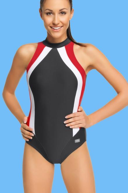 GWINNER  Jednoczęściowy strój kąpielowy Kostium Kąpielowy Model Olivia Grafit/Red/White - GWINNER 132798 Слитный купальник Серый оптом