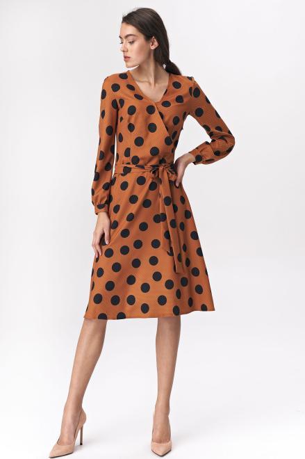 Nife  Brązowa rozkloszowana sukienka w grochy - S136 Платье brąz/grochy оптом