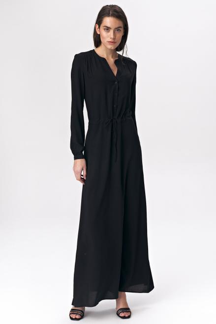 Nife  Czarna sukienka maxi - S135 Платье Черный оптом