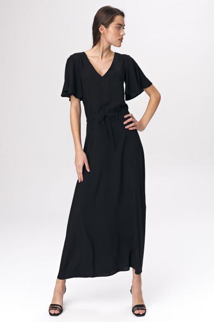 Nife  Czarna sukienka maxi z rozkloszowanym rękawem - S137 Платье Черный оптом