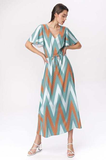Nife  Turkusowa sukienka maxi z rozkloszowanymi rękawami - zygzak - S141 Платье zygzak оптом