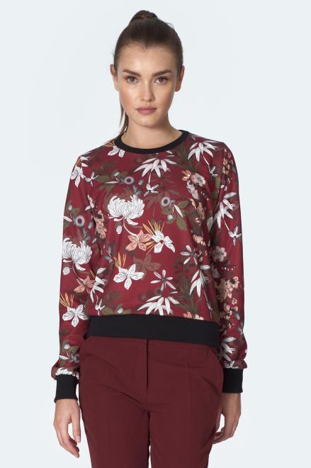 Nife  Bordowa bluza ze ściągaczem w kwiaty - B129 Блуза kwiaty/bordo оптом