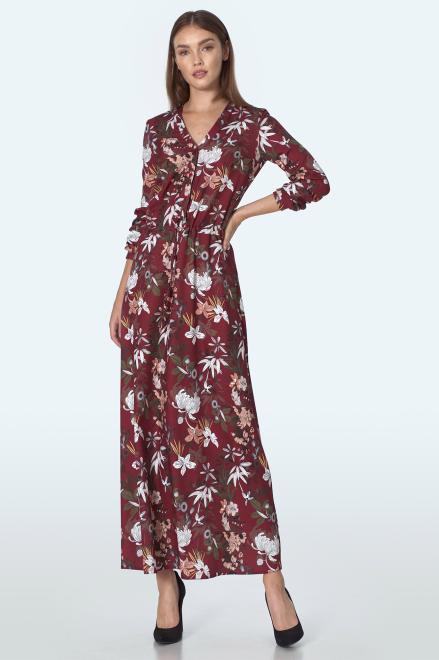 Nife  Bordowa sukienka maxi w kwiaty - S155 Платье kwiaty/bordo оптом