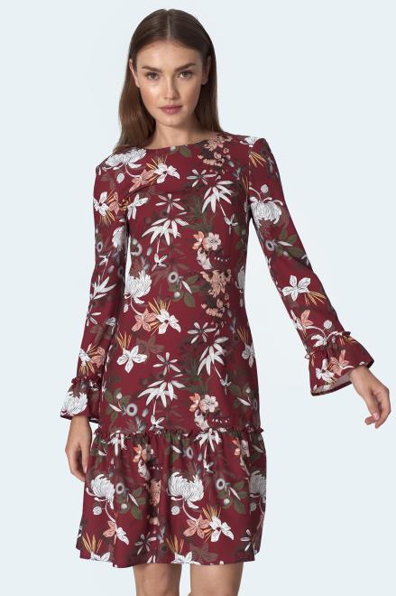 Nife  Bordowa sukienka z falbaną w kwiaty - S153 Платье kwiaty/bordo оптом