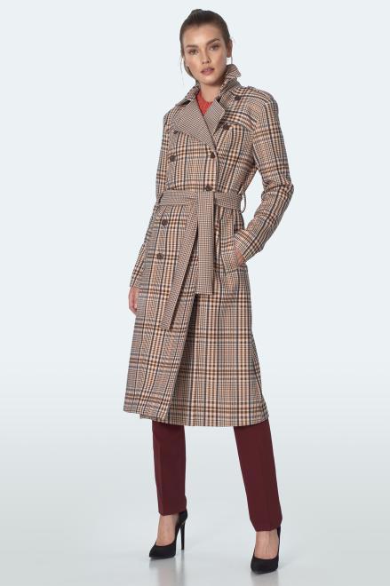 Nife  Dwurzędowy płaszcz z paskiem w beżową kratę - PL10 Куртка krata/beż оптом
