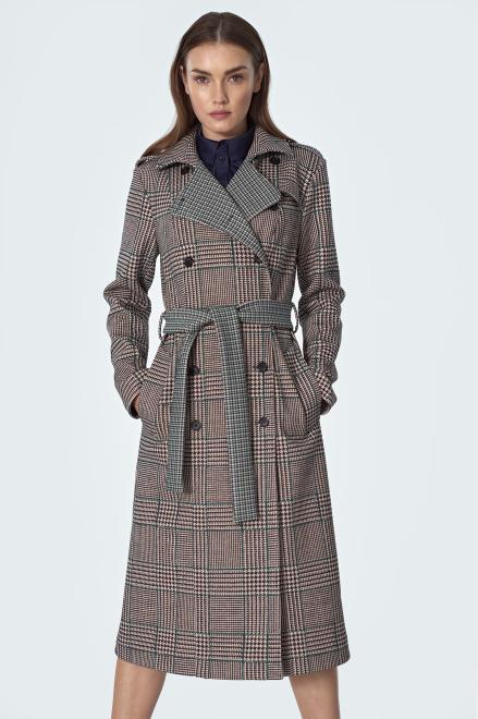 Nife  Dwurzędowy płaszcz z paskiem w pepitko - PL10 Куртка pepitko оптом
