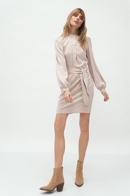 Nife  Beżowa sukienka na stójce  - S177 Платье Бежевый оптом