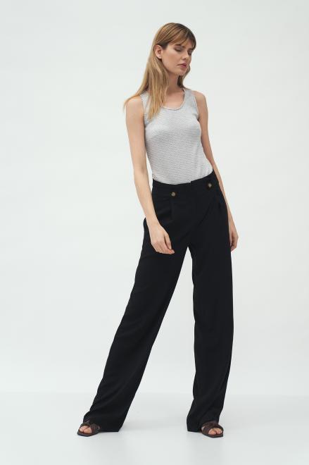 Nife  Czarne spodnie z zakładkami typu palazzo - SD58 Брюки Черный оптом