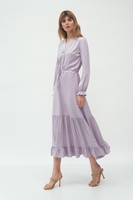 Nife  Długa liliowa sukienka z falbanką - S178 Платье LILA оптом