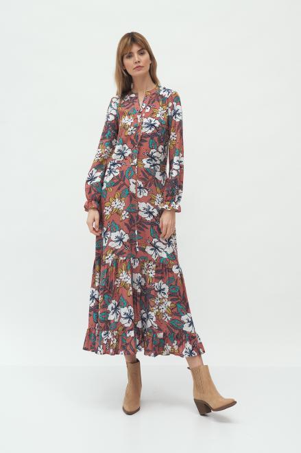 Nife  Długa sukienka w kwiaty - S168 Платье Цветы оптом
