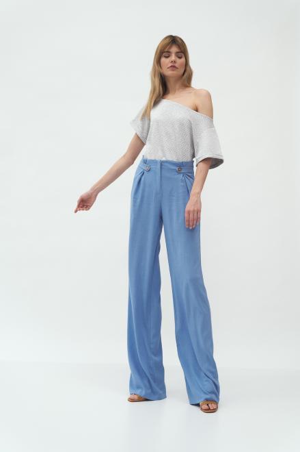 Nife  Niebieskie spodnie z zakładkami typu palazzo - SD58 Брюки Голубой оптом