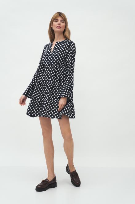 Nife  Sukienka z falbaną w grochy - S175 Платье grochy оптом