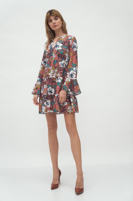 Nife  Sukienka z falbaną w kwiaty - S175 Платье Цветы оптом