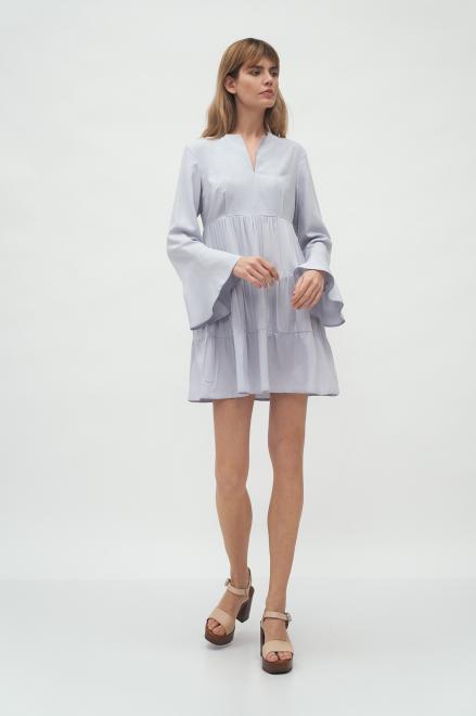 Nife  Szara sukienka wiskozowa z falbanami - S180 Платье Серый оптом