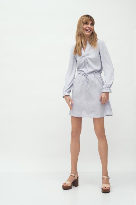 Nife  Szara wiskozowa sukienka wiązana w talii - S171 Платье Серый оптом