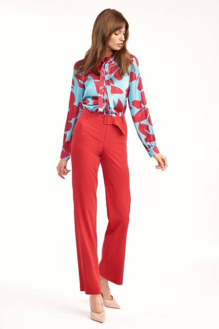 Nife  Czerwone spodnie z rozszerzaną nogawką - SD61 Брюки Красный оптом