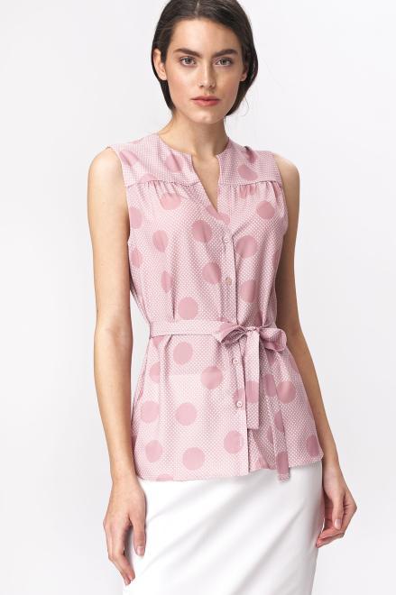 Nife  Urocza różowa bluzka bez rękawów w grochy - B112 Блузка róż/grochy оптом