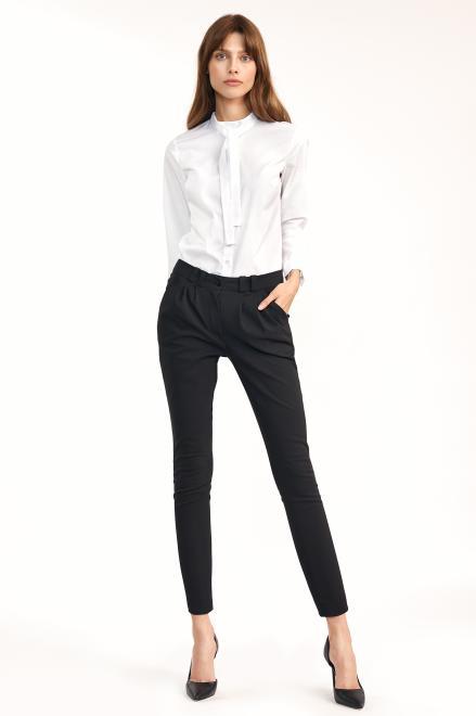 Nife  Klasyczne spodnie ze zwężanymi nogawkami - czarny - SD62 Брюки черный оптом