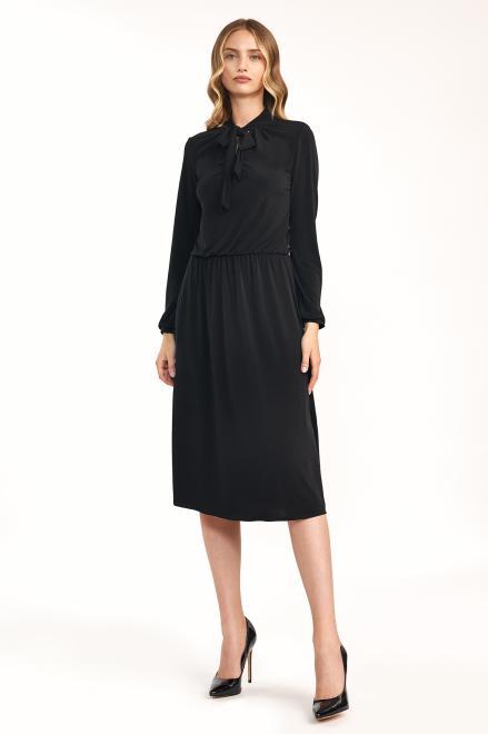 Nife  Czarna sukienka z fontaziem - S186 Платье черный оптом
