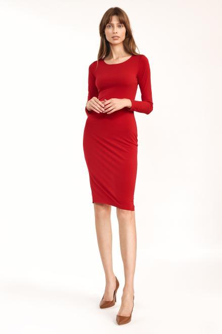 Nife  Czerwona dopasowana sukienka - S192 Платье красный оптом