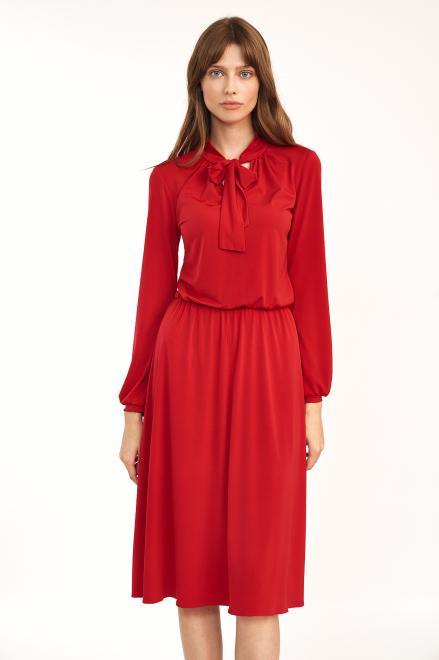 Nife  Czerwona sukienka z fontaziem - S186 Платье красный оптом